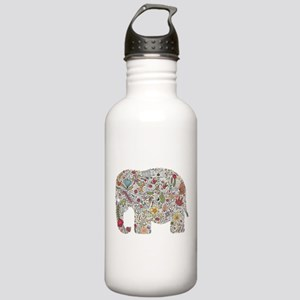 Floral Elephant Silhouette Water Bottle