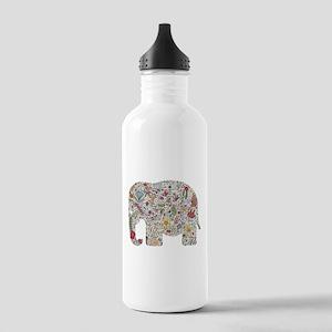 Floral Elephant Silhouette Water Bottle