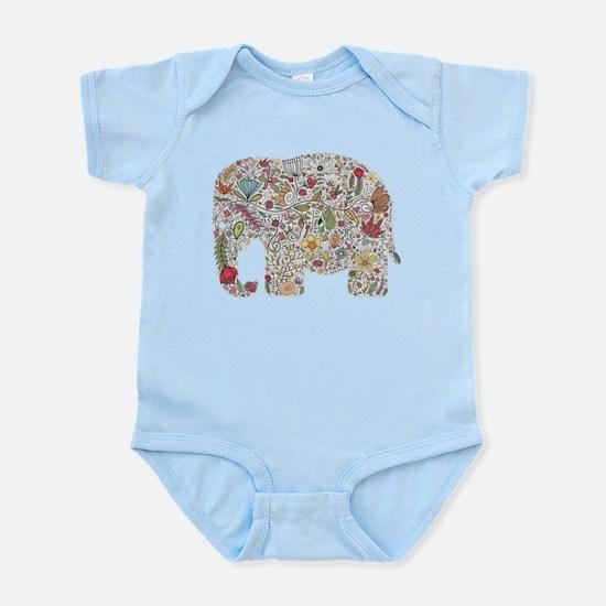 Floral Elephant Silhouette Body Suit