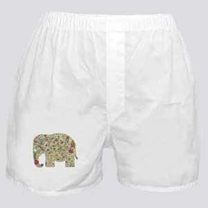Floral Elephant Silhouette Boxer Shorts