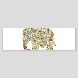 Floral Elephant Silhouette Bumper Sticker