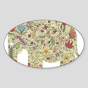 Floral Elephant Silhouette Sticker