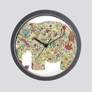 Floral Elephant Silhouette Wall Clock