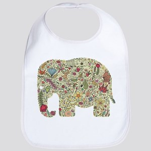 Floral Elephant Silhouette Bib
