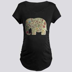 Floral Elephant Silhouette Maternity T-Shirt
