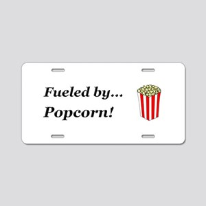 Fueled by Popcorn Aluminum License Plate