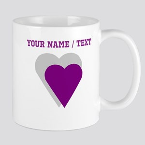 Custom Purple Shadow Heart Mugs