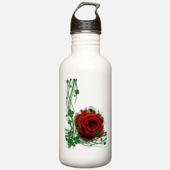 Rose With Four Leaf Cl Water Bottle