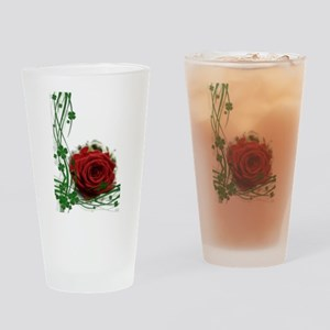 Rose With Four Leaf Clovers Drinking Glass