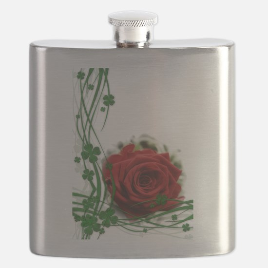 Rose With Four Leaf Clovers Flask