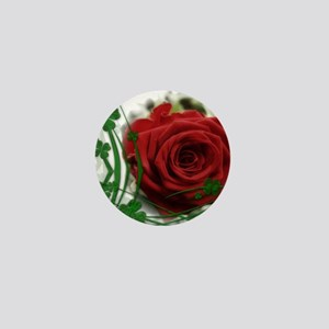 Rose With Four Leaf Clovers Mini Button