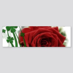 Rose With Four Leaf Clovers Bumper Sticker