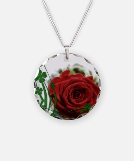 Rose With Four Leaf Clovers Necklace