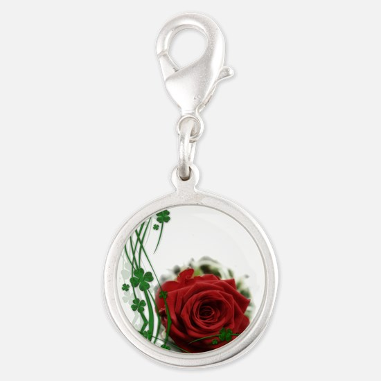 Rose With Four Leaf Clovers Charms