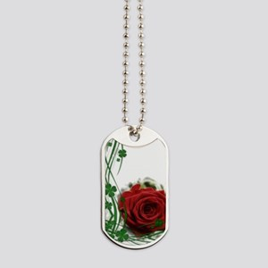 Rose With Four Leaf Clovers Dog Tags