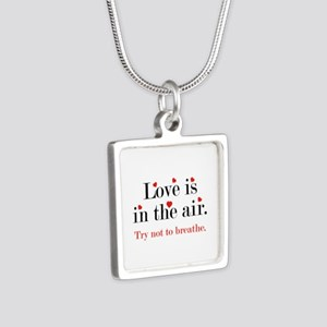 Love Is In The Air Silver Square Necklace