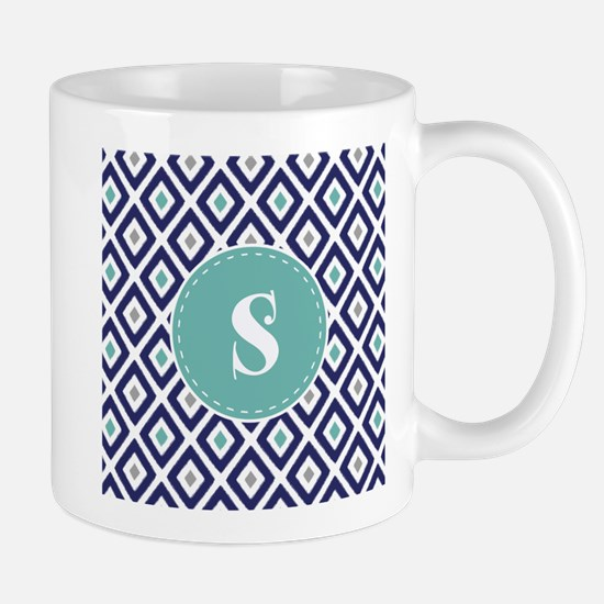 Navy Blue Ikat Diamond Pattern Monogram Mug