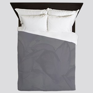 Gray Leaves Queen Duvet
