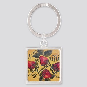 Folk Art Strawberries Square Keychain