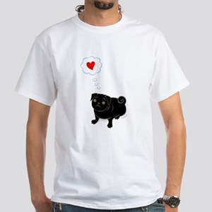 """Love Me"" black pug (cap sleeve) T-Shirt"