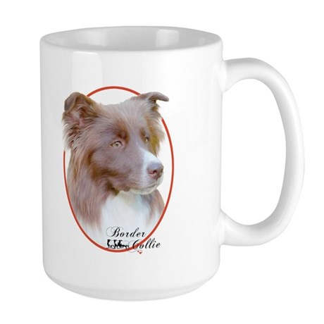 Red Border Collie Cameo Large Mug