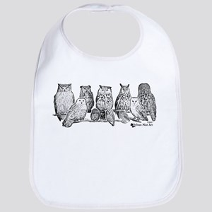 Owls - Ink Drawing Baby Bib