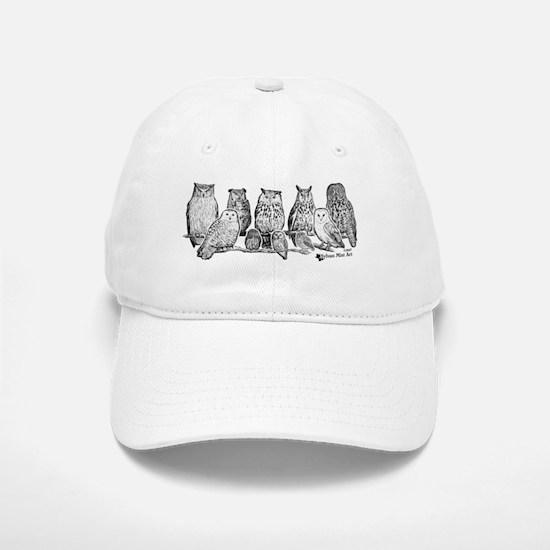 Owls - Ink Drawing Baseball Baseball Cap