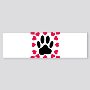 Black Dog Paw Print With Heart Shap Bumper Sticker