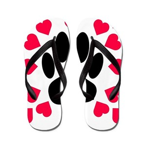 a588d869bc413 Dog Paw Heart Flip Flops - CafePress