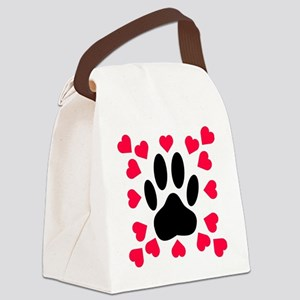 Black Dog Paw Print With Heart Sh Canvas Lunch Bag