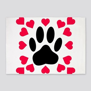 Black Dog Paw Print With Heart Shap 5'x7'Area Rug