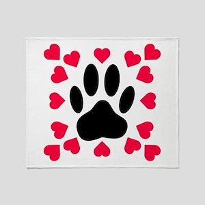 Black Dog Paw Print With Heart Shape Throw Blanket