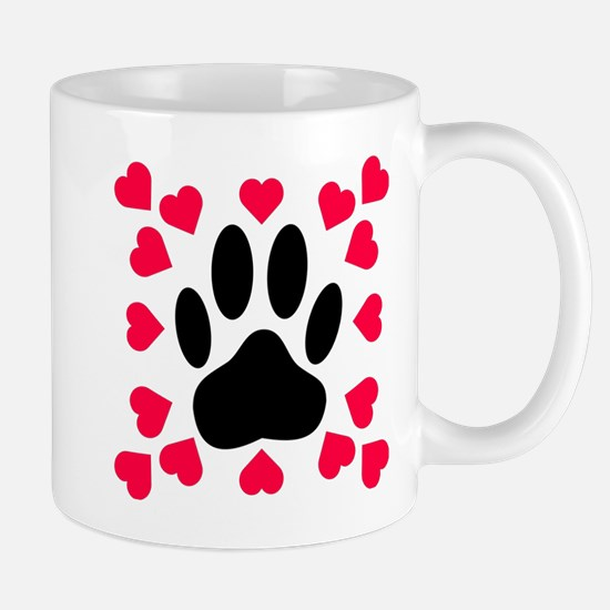 Black Dog Paw Print With Heart Shapes Mugs