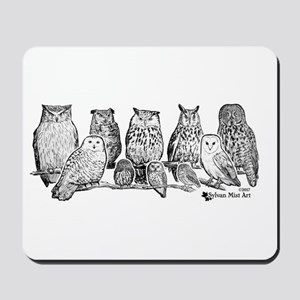 Owls - Ink Drawing Mousepad
