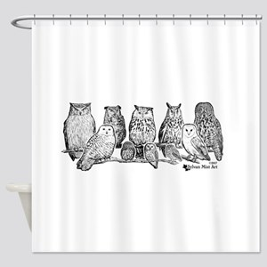 Owls - Ink Drawing Shower Curtain
