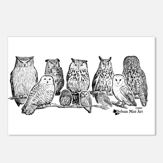 Owls - Ink Drawing Postcards (Package of 8)
