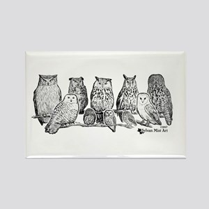 Owls - Ink Drawing Magnets
