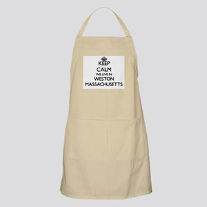 Keep calm we live in Weston Massachusetts Apron