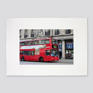 Red London Double Decker Bus, Engla 5'x7'Area Rug