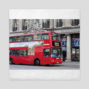 Red London Double Decker Bus, England Queen Duvet