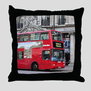 Red London Double Decker Bus, England Throw Pillow