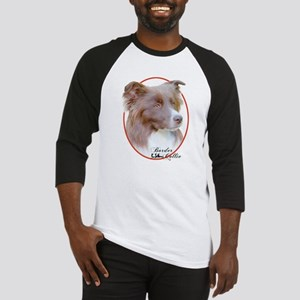 Red Border Collie Cameo Baseball Jersey