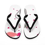 Pink Gray Love Cat Flip Flops