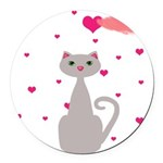 Pink Gray Love Cat Round Car Magnet