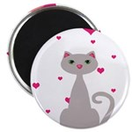 Pink Gray Love Cat Magnets