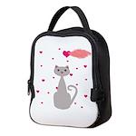 Pink Gray Love Cat Neoprene Lunch Bag
