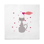Pink Gray Love Cat Queen Duvet