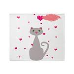 Pink Gray Love Cat Throw Blanket