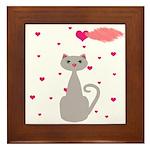 Pink Gray Love Cat Framed Tile