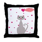 Pink Gray Love Cat Throw Pillow